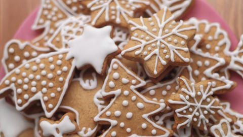 Traditional gingerbread Christmas cookies. Dolly shot. Shallow depth of field. Czech Republic Live Action