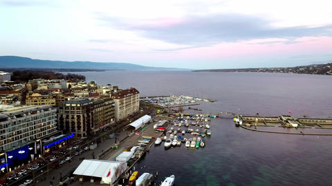 Panoramic aerial view of Geneva city, Switzerland Live Action