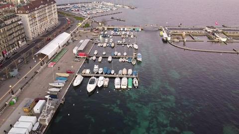 Panoramic aerial view of Geneva pier, Switzerland Live Action