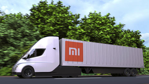 Electric semi-trailer truck with XIAOMI logo on the side. Editorial loopable 3D Acción en vivo