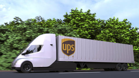 Electric semi-trailer truck with UPS logo on the side. Editorial loopable 3D Acción en vivo
