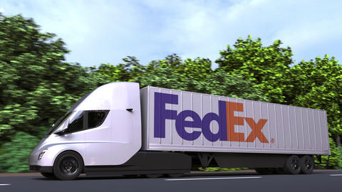 Electric semi-trailer truck with FEDEX logo on the side. Editorial loopable 3D Acción en vivo