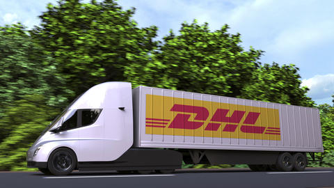 Electric semi-trailer truck with DHL logo on the side. Editorial loopable 3D Acción en vivo