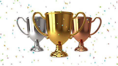 Trophy set confetti colorful Animation