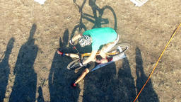Cyclists jump over man in bicycle aerial HD video. MTB tricks in Mountain bike Footage