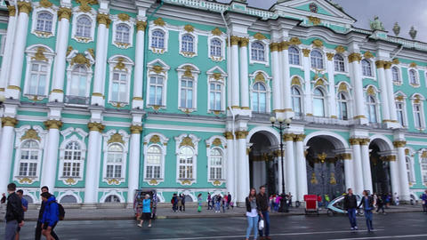 Hermitage Museum from Palace Square, famous building facade, windows, pan shot Footage