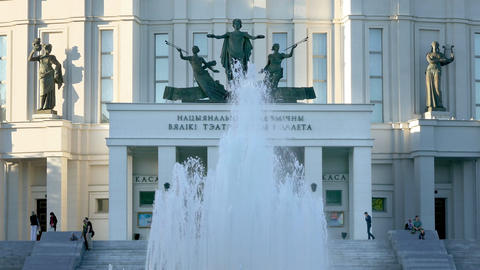 Fountain Turns on and Off in Front of Opera and Ballet Theatre in Minsk Footage
