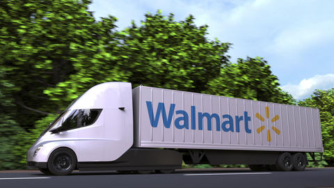 Electric semi-trailer truck with WALMART logo on the side. Editorial loopable 3D Acción en vivo