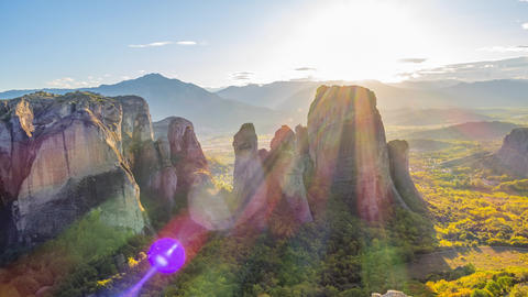 Sunset Over the Greek Meteora. Rotating Time Lapse Live Action