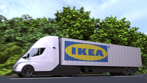 Electric semi-trailer truck with IKEA logo on the side. Editorial loopable 3D Acción en vivo