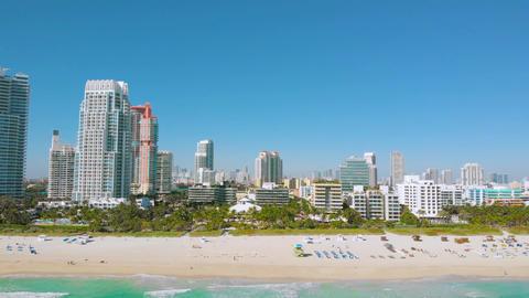Aerial view of South Beach, Miami Beach, Florida Live Action