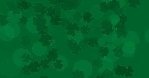 Patrick Day background with falling shamrock leaf pattern. For festive pub party Animation