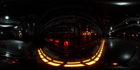 VR360 futuristic dark Data center with metal and lights Live Action