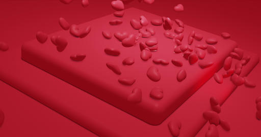 Red glamor falling polygonal hearts. Valentines Day. event background. 3D Animation