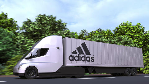 Electric semi-trailer truck with ADIDAS logo on the side. Editorial loopable 3D Acción en vivo