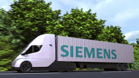 Electric semi-trailer truck with SIEMENS logo on the side. Editorial loopable 3D Acción en vivo