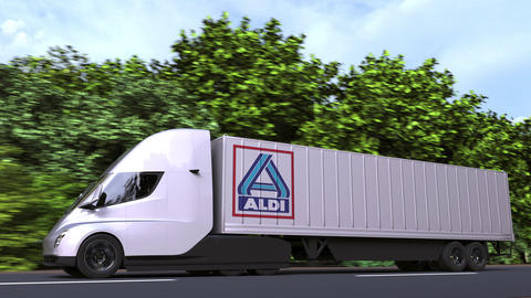 Electric semi-trailer truck with ALDI logo on the side. Editorial loopable 3D Acción en vivo