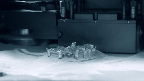Printing platform with object printed on 3d printer for metal Live Action