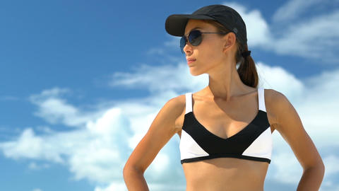 Sporty Woman Wearing Sunglasses and Bikini - Girl Wearing Sunglasses Live Action