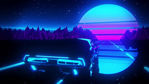 3D Retro Synthwave Night Landscape VJ Loop Motion Background Videos animados