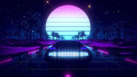 3D Retro Synthwave Palms Landscape VJ Loop Motion Background Videos animados