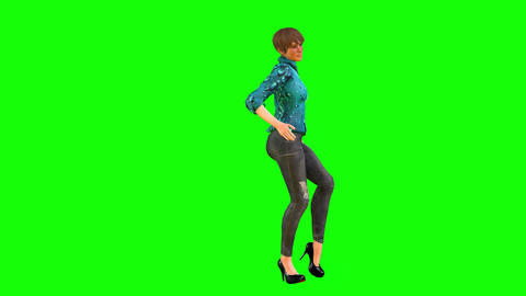 461 4K 3D animated beautiful girl presents herself walking and talking Animation