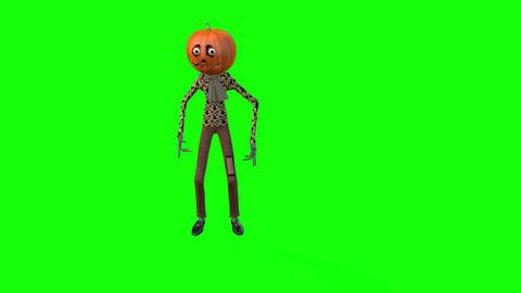 463 4K 3d animated cartoon avatar hallowen pumkin head walking Animation