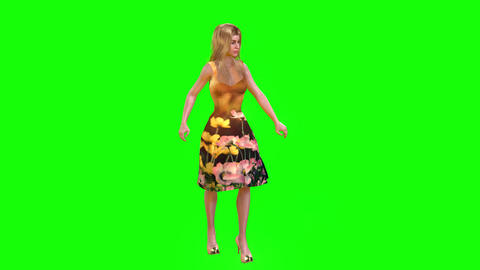 469 4K 3d animated atractive girl stands beside table talking Animation
