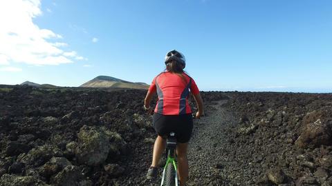 Mountain Biking Woman Cycling on MTB Bike Trail - Female Mountain Biker Workout Live Action