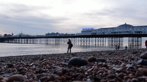 Brighton Pier in England in the evening - BRIGHTON, ENGLAND, DECEMBER 29, 2019 Live Action