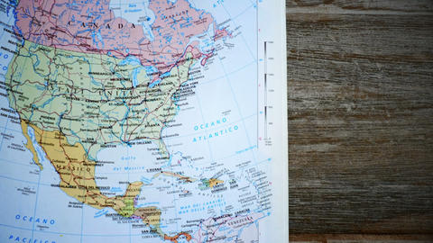 Old north america atlas for vacation Plan with continent map background Live Action