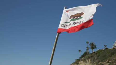 California Republic Flag slow motion blue sky background Live Action