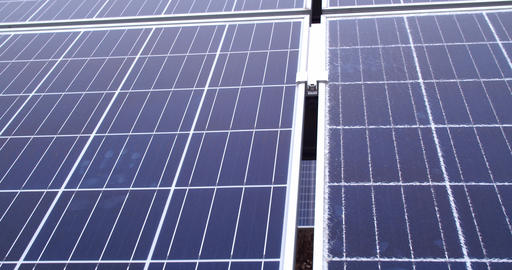 New and cracked solar panels side by side, close up, 4k Live Action