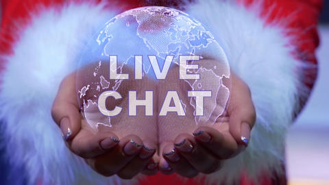 Hands holding planet with text Live chat Live Action