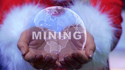Hands holding planet with text Mining Live Action