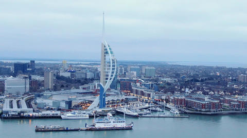 Famous Spinnaker Tower at Portsmouth - aerial view - PORTSMOUTH, ENGLAND Live Action