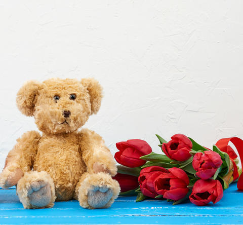 cute brown teddy bear sits on a blue wooden background and bouqu Fotografía