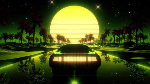 3D Green Retro Synthwave Palms Landscape VJ Loop Motion Background Videos animados