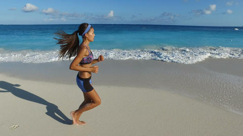 Jogger Running On Idyllic Beach - Woman Runner Live Action