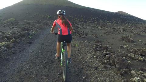 Recreational Mountain Biking Woman Cycling on MTB - Female Mountain Biker Live Action