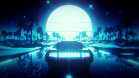 3D Blue Retro Synthwave Palms Landscape VJ Loop Motion Background Videos animados