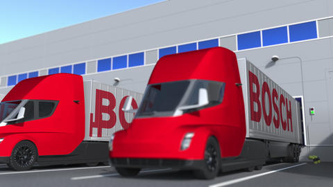 Trailer trucks with Bosch logo being loaded or unloaded at warehouse. Logistics Live Action