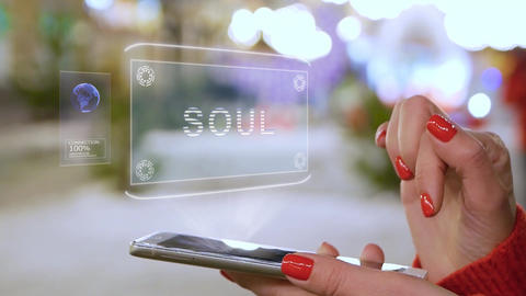 Female hands interact HUD hologram Soul Live Action