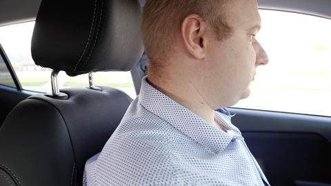 4k video of beautiful sexy woman sitting in taxi car with male driver Live Action