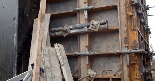 Close up of the outside of a formwork at the construction site, building, 4k Live Action