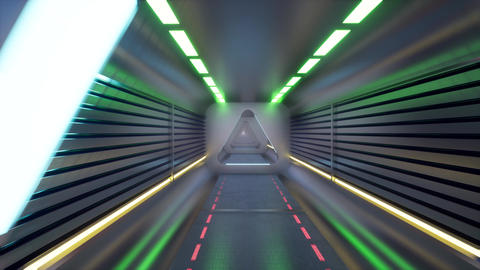 Metal tunnel on light background for game background design. Futuristic Live Action