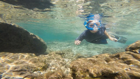 Boy Snorkeling Underwater North Shore Oahu Island Hawaii Footage