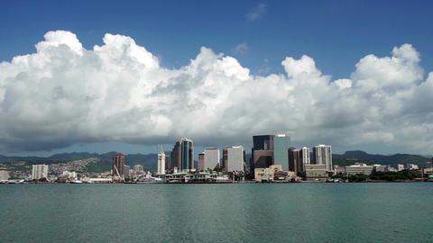 Interesting Sky Honolulu Downtown City Skyline Metropolis Hawaii United States Footage