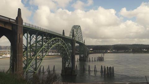 Yaquina Bay Shellfish Preserve Newport Bridge Oregon River Mouth Footage