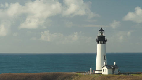 Clouds Roll By Quickly Time Lapse Yaquina Head Lighthouse Pacific Coast Footage
